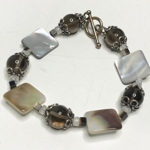Bracelet stone and shell silver tone clasp